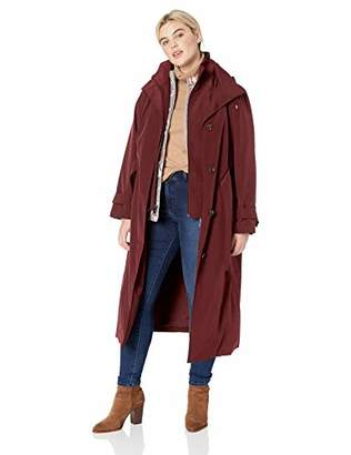 London Fog Women's Plus Size Single Breasted Long Trench Coat with Hood