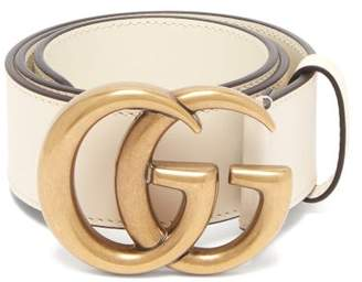 366ed2ca4 Gucci Gg Logo Leather Belt - Womens - White