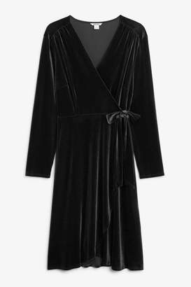 Monki Velvet wrap dress