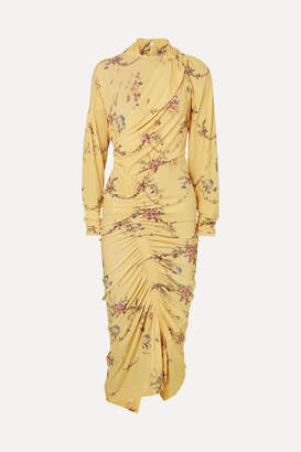 Preen by Thornton Bregazzi Louise Ruched Floral-print Stretch-crepe Dress - Yellow