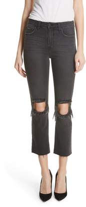 L'Agence Audrina Ripped Straight Leg Jeans