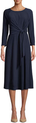 Neiman Marcus 3/4-Sleeve Tie-Waist A-Line Silhouette Midi Dress