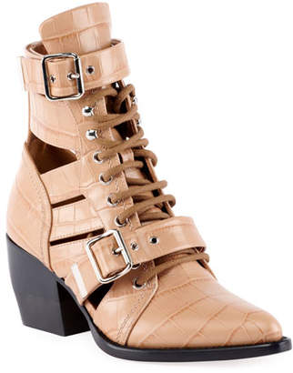 Chloé Rylee Croco Cutout Block-Heel Lace-Up Combat Boots