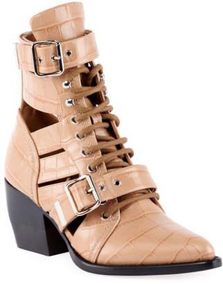 Chloé Rylee Croco Cutout Block-Heel Lace-Up Combat Boots