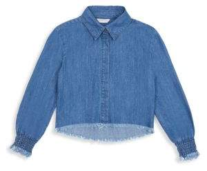 Habitual Girl Girl's Ashley Denim Fray Shirt