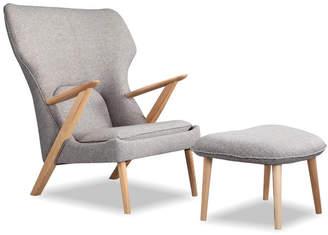 808 Home 2Pc Cub Modern Lounge Chair & Ottoman Set