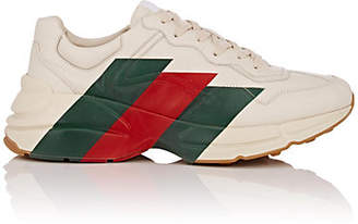 Gucci Men's Rhyton Web-Print Leather Sneakers - White