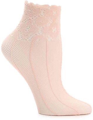 Lemon Lace Stripe Ankle Socks - Women's