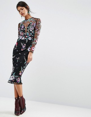 ASOS SALON Lace and Embroidered Sequin Midi Dress $162 thestylecure.com