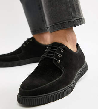 Asos DESIGN Wide Fit lace up shoes with creeper sole in black faux suede