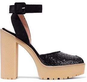 RED Valentino Glittered Suede Platform Sandals