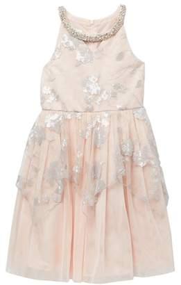 Iris & Ivy Sequin Peplum Social Dress (Big Girls)
