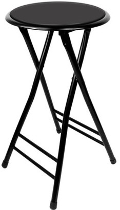 Trademark Home Collection Folding Stool Heavy Duty 24-Inch Collapsible Padded Round Stool with 300 Pound Capacity for Dorm, Rec Room or Gameroom by Trademark Home (Black)