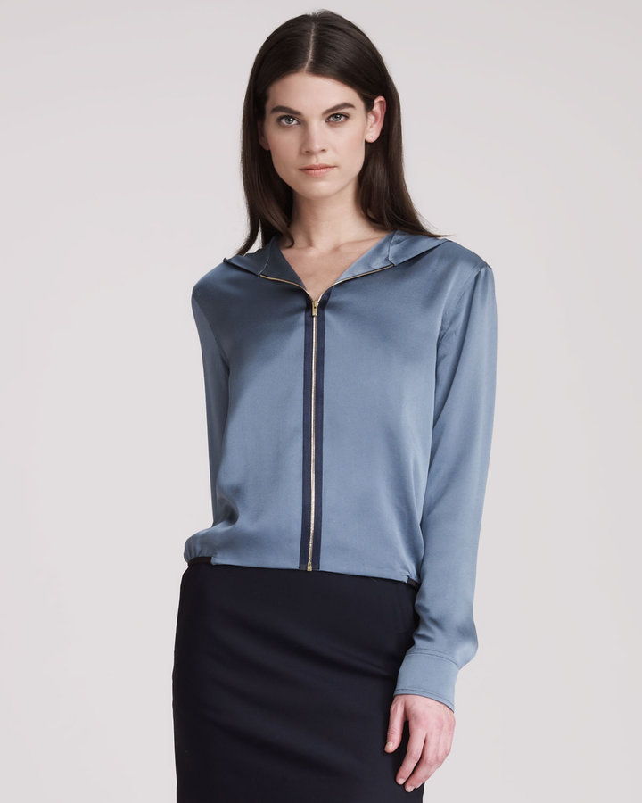 THE ROW Crepe Satin Top With Front Zip & Hood