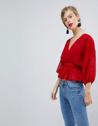 Asos DESIGN Sheer Waisted Poets Sleeve Blouse