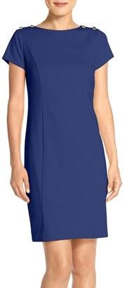 Ellen Tracy Button Accent Ponte Sheath Dress $118 thestylecure.com