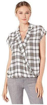 Vince Camuto Extend Shoulder Highland Notch Collar Wrap Front Blouse
