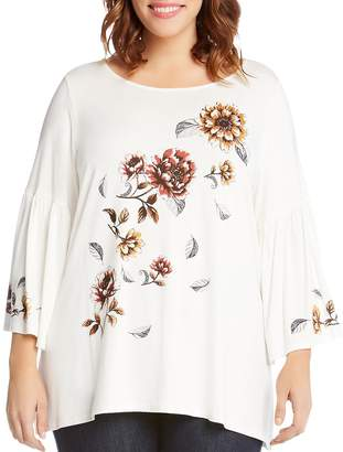 Karen Kane Plus Floral Bell Sleeve Swing Top