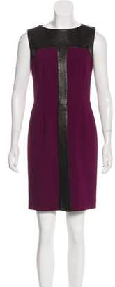 Saint Laurent Wool Leather-Paneled Dress