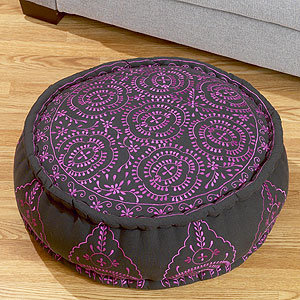Round Embroidered Floor Cushion, Purple