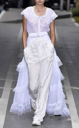 Off-White High-Rise Wide-Leg Belted Pants
