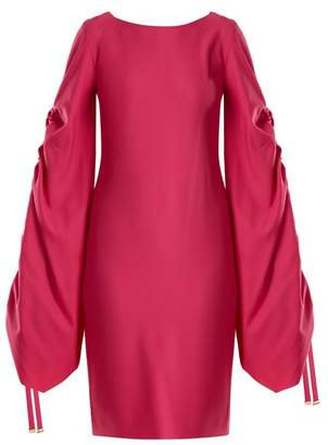 Osman Talitha gathered-sleeve crepe dress