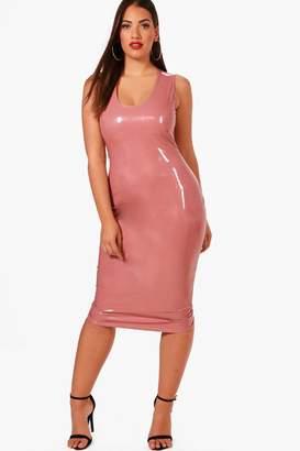 boohoo Plus Vinyl Leather Look Midi Dress