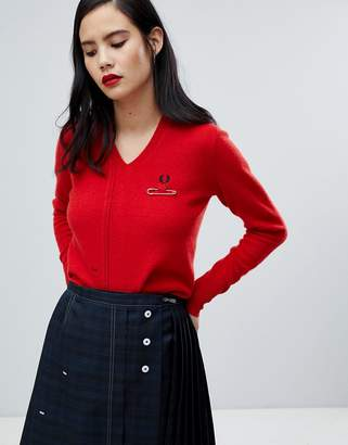 Fred Perry x Le Kilt Cut & see V-Neck Knit Sweater