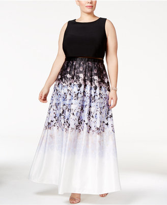 Betsy & Adam Plus Size Illusion 2-Pc. Printed Gown $259 thestylecure.com