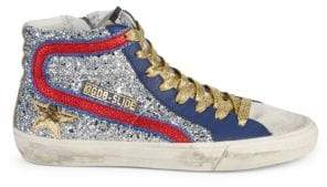 53d0d7d3c8c2 Golden Goose Slide Glitter Patch High-Top Sneakers
