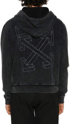 Off-White Off White Men's Diagonal 3D-Line Zip-Front Hoodie