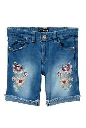 XOXO Embroidered Denim Bermuda Shorts (Little Girls)