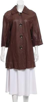 Vince Leather Button-Up Coat