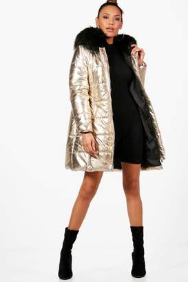 boohoo Metallic Faux Fur Hood Puffer