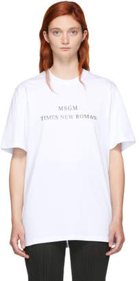 MSGM White Times New Roman T-Shirt