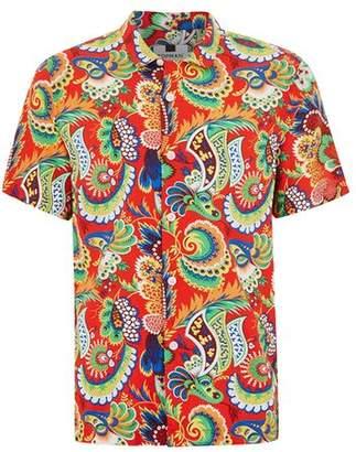 Topman Mens Red Multi Print Short Sleeve Shirt