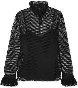 Philosophy di Lorenzo Serafini Ruffled Crocheted Lace Blouse - Black