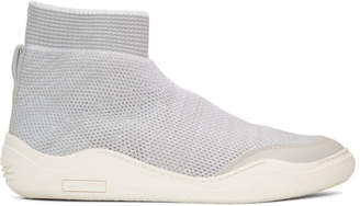 Lanvin Off-White and Grey Knit High-Top Sneakers