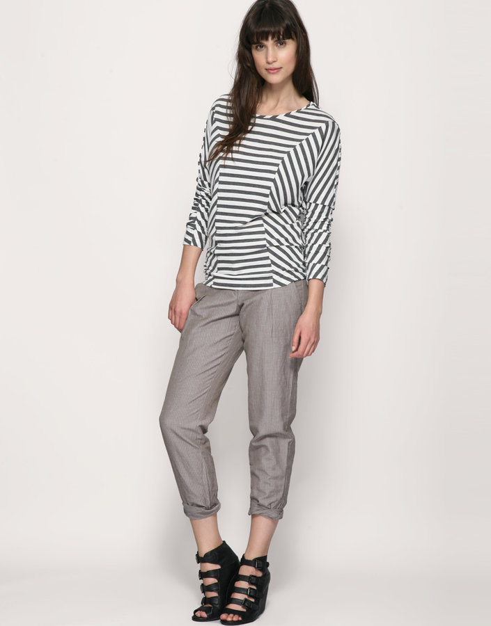 Warehouse Pinstripe Peg Leg Linen Mix Pant