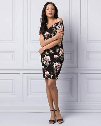 Le Château Floral Print Ponte Off-the-Shoulder Dress