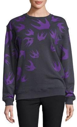 McQ Alexander McQueen Classic Swallow-Print Crewneck Sweatshirt, Ozzy Gray $275 thestylecure.com