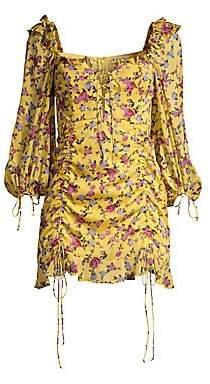 For Love & Lemons Women's Beaumont Stretch-Silk Lace-Up Dress