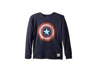 Original Retro Brand The Kids Captain America Long Sleeve Tri-Blend Tee (Big Kids)