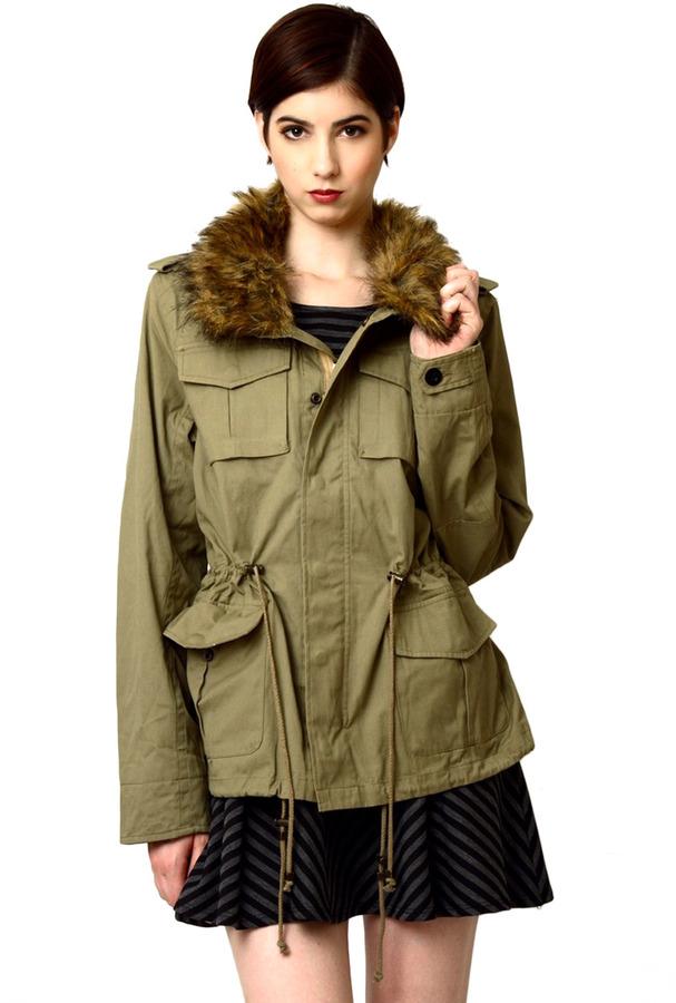 Dress Up Fur Trim Twill Jacket