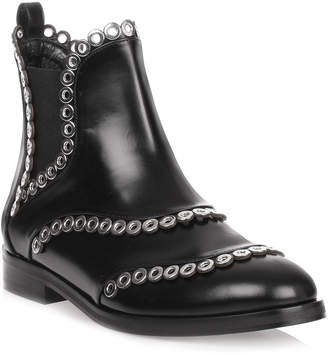 Alaia Black leather eyelet Chelsea boot