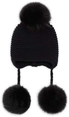 Inverni Monnalisa Fox Fur Pom-Pom Hat