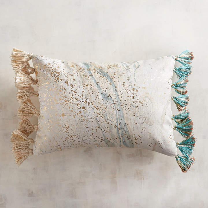 Metallic Marble Tasseled Lumbar Pillow
