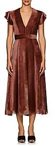 J. Mendel Women's Striped Devoré Velvet Midi-Dress - Crimson