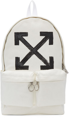 Off-White White Brushed Arrows Backpack $560 thestylecure.com