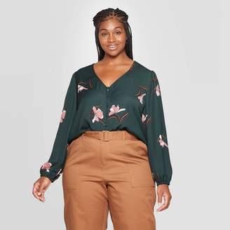 Ava & Viv Women's Plus Size Floral Print Relaxed Fit Long Sleeve V-Neck Covered Button Blouse - Ava & VivTM Dark Green